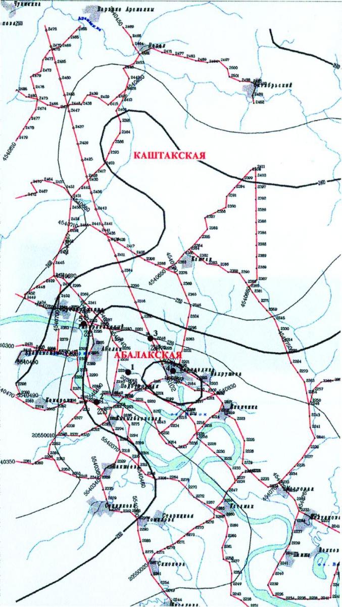 """Рис.4. Структурная карта по отражающему горизонту """"А"""" (палеозойский фундамент по данным Г.Б.Борисова)"""