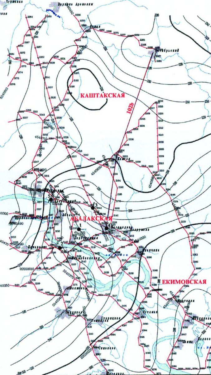 """Рис.5. Структурная карта по отражающему горизонту """"Б"""" (верхняя юра по данным Г.Б.Борисова)"""