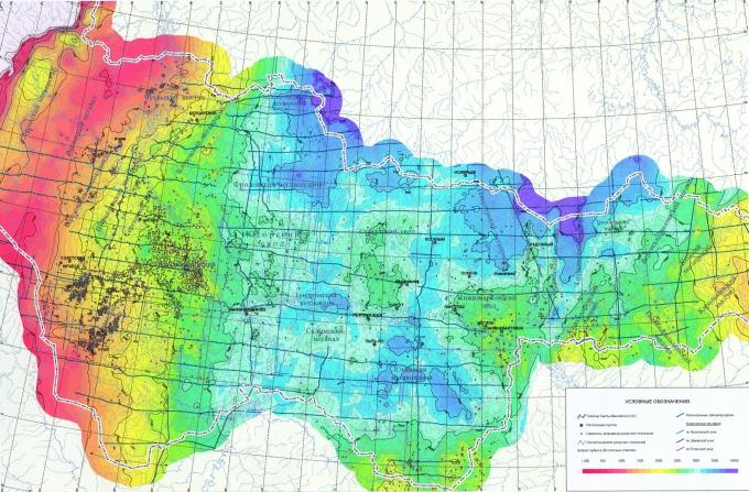 Рис.1. Структурная карта по кровле доюрских отложений территории ХМАО