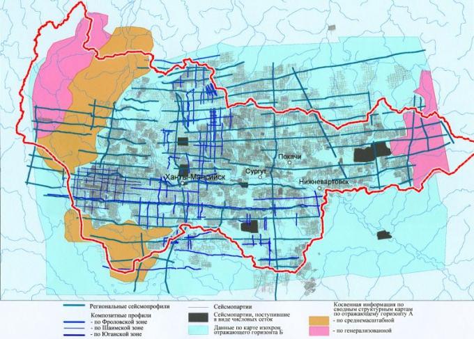 Рис.2. Схема расположения исходных данных и косвенной информации, использованных при построении структурных карт