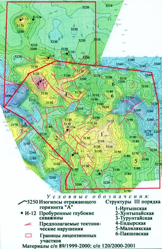 """Рис.1. Структурная карта по отражающему горизонту """"А"""" Ендырской группы площадей"""