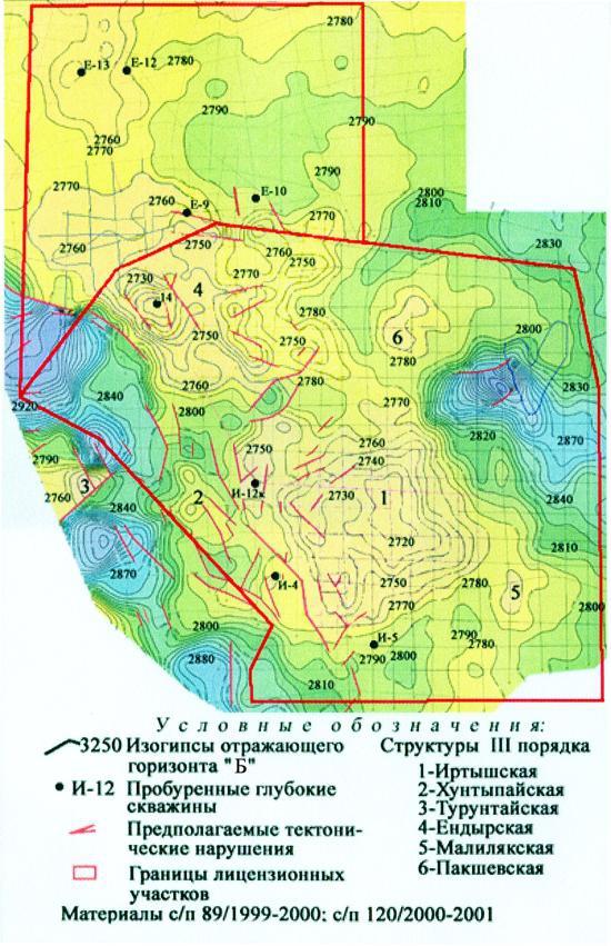 """Рис.2. Структурная карта по отражающему горизонту """"Б"""" Ендырской группы площадей"""