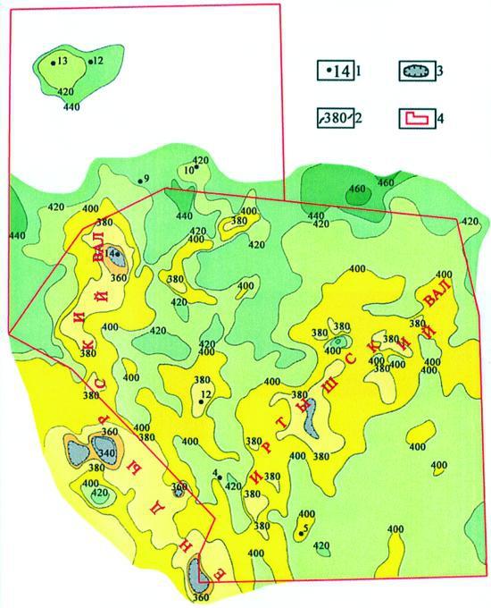 Рис.5. Палеотектоническая карта развития Ендырской площади в юрское время. Условные обозначения:1 — пробуренные скважины; 2 — изопахиты юрских отложений; 3 — зоны полного их выклинивания; 4 — границы лицензионных участков.