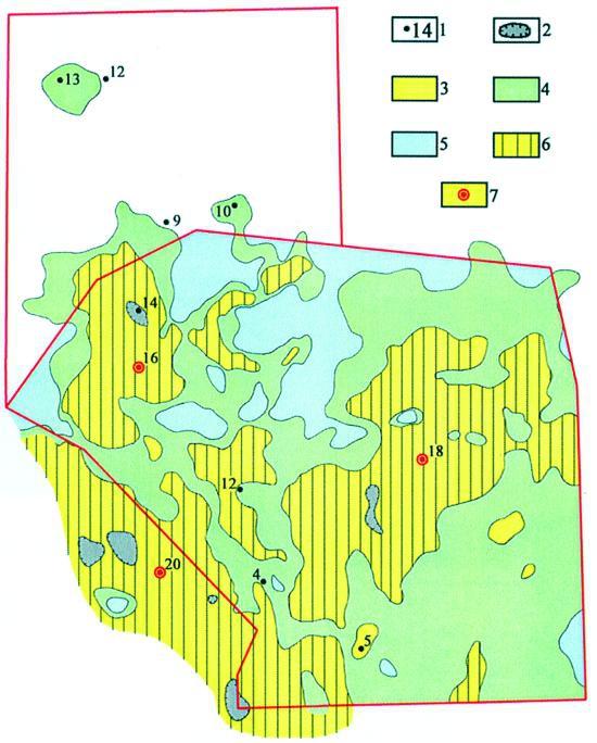 Рис.6. Карта перспектив нефтегазоносности пласта Ю10 в пределах Ендырской площади. Условные обозначения: 1 — пробуренные скважины; 2 — зоны отсутствия нижнеюрских отложений; 3 — зоны с содержанием песчаников в пласте Ю10 более 50%; 4 — зоны с содержанием песчаников 50-25%; 5 — зоны с содержанием песчаников менее 25%; 6 — перспективные ловушки; 7 — рекомендуемые скважины.