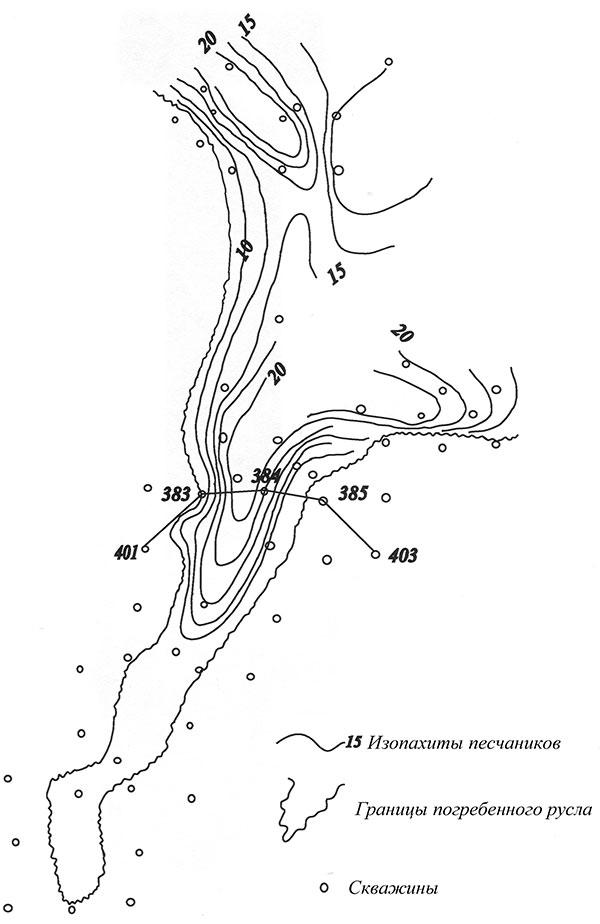 Рис.1. Фаинское (Среднеасомкинское) месторождение. Карта мощности русловых песчаников Ю11