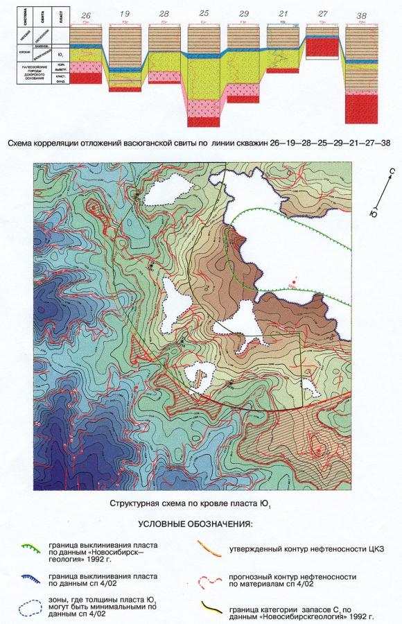 Рис.4. Характеристика отложений пласта Ю1 васюганской свиты