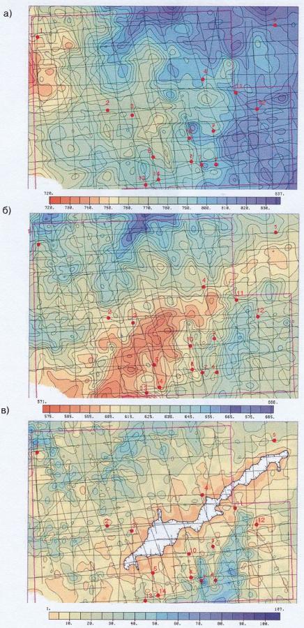 Рис.5. Схемы изопахит между отражающими горизонтами: в) А-П; б) М-Г; а) Г — дневная поверхность.