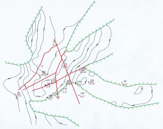 Рис.4. Структурная карта по кровле пласта Ю4 Кальчинского месторождения