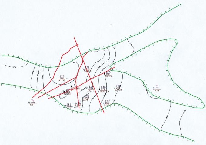 Рис.5. Структурная карта по кровле коллектора пласта Ю3 Кальчинского месторождения