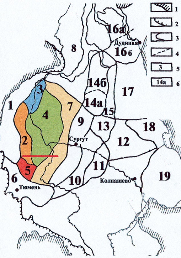 Рис.1. Схема районирования неокомских отложений Западно-Сибирской равнины. Условные обозначения: 1 — обрамление; 2 — граница распространения неокомских отложений; 3 — граница района; 4 — граница подрайона; 5 — район; 6 — подрайон. Районы и подрайоны: 2 — Игримско-Шаимский, 3 — Березовский, 4 — Фроловский, 5 — Карабашский, 7 — Тобольско-Надымский