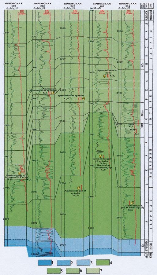 Рис.2. Схема корреляции неокомских отложений Приобского месторождения. Условные обозначения: 1 — бат-келловей; 2 — оксфорд-кимеридж; 3 — титон; 4 — берриас; 5 — валанжин; 6 — готерив-баррем; 7 — апт