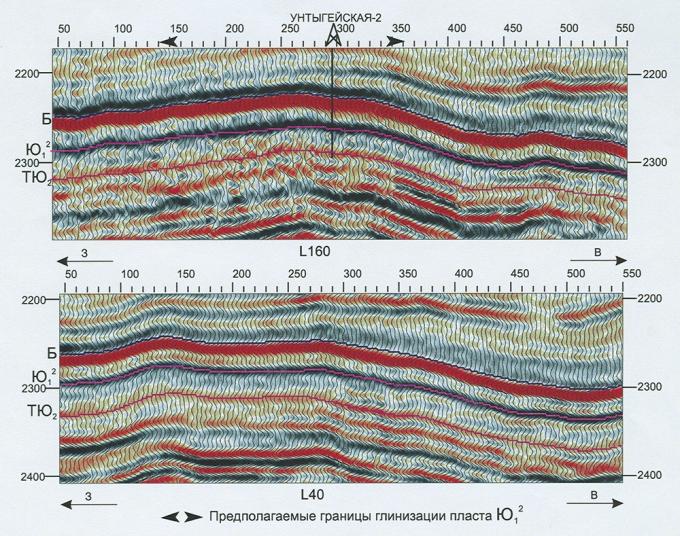 Рис.1. Фрагмент стандартных временных разрезов сп 3/01-02 СибНГФ на Унтыгейской площади по линии L160, L40