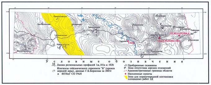 Рис.4. Структурная карта по кровле верхней юры (баженовская свита и ее аналоги) (Омская область)
