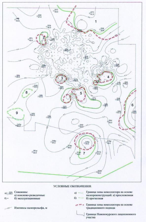 Рис.1. Карта палеорельефа на начало формирования пласта ЮВ21