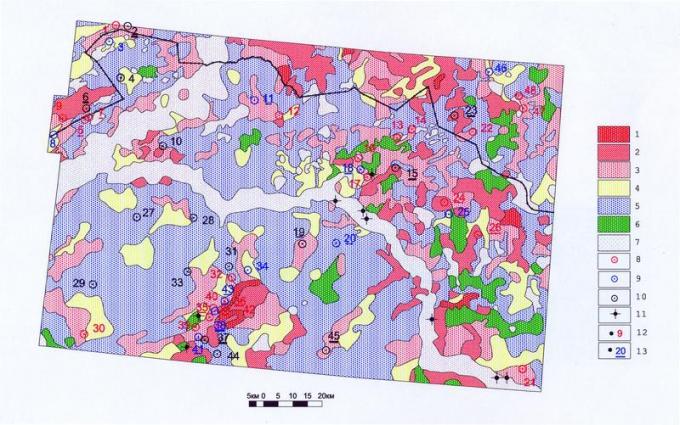 Рис.3. Карта «точечной» (по скважине) оценки космофотопрогнозируемой (в 1991 году) нефтенасыщенности земель Нижнедемьянского района. 1-5 — Прогнозируемая (Клопов А.Л.) нефтенасыщенность (продуктивность) земель; в скобках дебиты нефти по расчетам 2005 года: 1 — богатая (60 м3/сут и более), 2 — высокая (30 — менее 60 м3/сут), 3 — средняя (5 — менее 30 м3/сут), 4 — малая (1 — менее 5 м3/сут), 5 — «пустая». 6-7 — Отказ от дистанционного нефтепрогнозирования из-за: 6 — неуверенной интерпретации, 7 — природных помех дешифрированию (пойма водотоков, озера, болота). 8-11 — «Точки» оценки — скважины, пробуренные после космодешифрирования: 8 — нефтепродуктивные, 9 — малодебитные, 10 — «пустые», 11 — оказавшиеся в группе отказа (9 шт. без номеров). 12-13 — Результаты «точечного» сопоставления установленной (бурением) продуктивности с прогнозируемой: 12 — скважины («точки» с неподчеркнутыми номерами) полного совпадения (29 шт., или 60%), 13 — «точки» несовпадения (с подчеркнутыми номерами 19 шт., или 40%; 7 из них — скважины с заключением «недоисследовано» — №2, 6, 15, 23, 37, 38, 45).