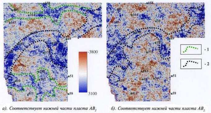 Рис.3. Временные седиментационные срезы в интервале залегания пласта АВ2. 1 — Русла , существовавшие только на раннем этапе аккумуляции отложений пласта АВ2 (палеостарицы); 2 — Основное русло, существовавшее на всем протяжении аккумуляции отложений пласта АВ2