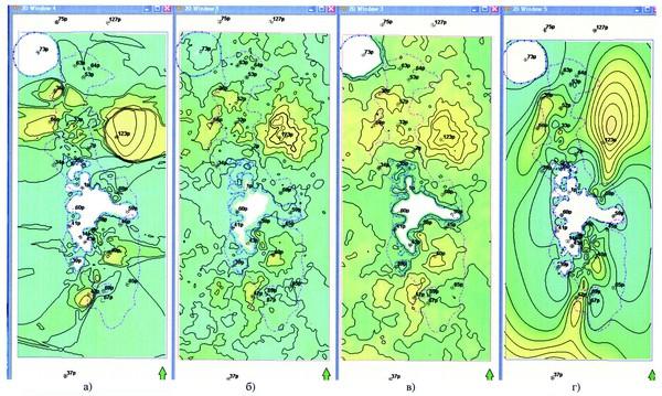 Рис.1. Карты эффективных толщин пласта Ю11: а) из 3D модели, рассчитанной методом Indicator Kriging, б) из 3D модели, рассчитанной методом Sequential Indicator Simulation, в) из 3D модели после осреднения двух методов, г) из 2D модели
