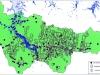Рис.1. Зона затопления территории округа при увеличении на 20-метровом уровня поверхностных вод