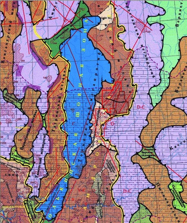Фрагмент Тектонической карты